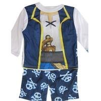 Jake the Pirate Baby Boys White Navy Blue Cartoon Inspired 2 Pc Pajama Set 12-24M
