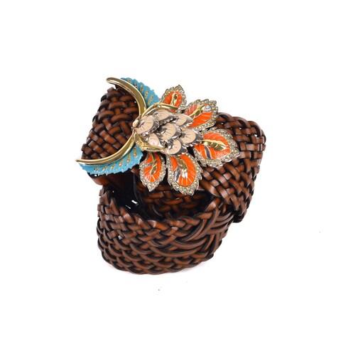 Roberto Cavalli Women Brown Braided Leather Floral Enamel Belt