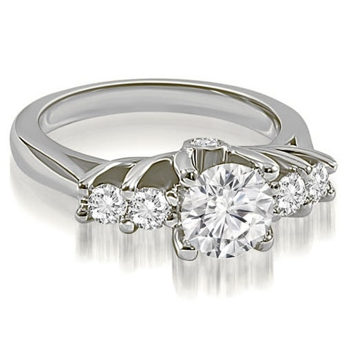 1.10 cttw. 14K White Gold Exquisite Trellis Round Diamond Engagement Ring