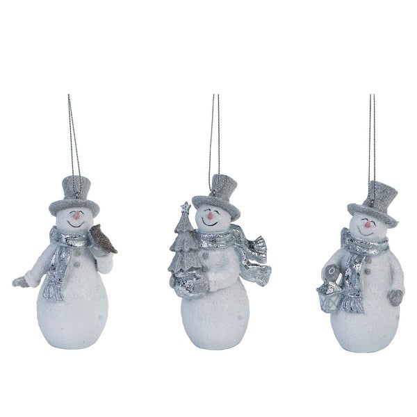 """Set of 3 Silver and White Smiling Snowman Christmas Ornaments 5"""". Opens flyout."""