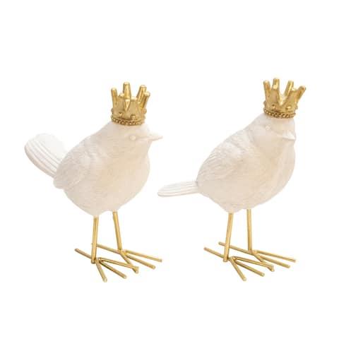 S/2 Polyresin Birds W/ Crown, White/Gold