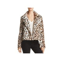 Sunset & Spring Womens Faux Fur Jacket Leopard Print Winter