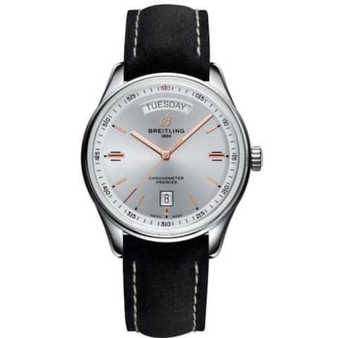 Breitling Men's A4534021-G846-507X 'Premier' Black Leather Watch - Silver