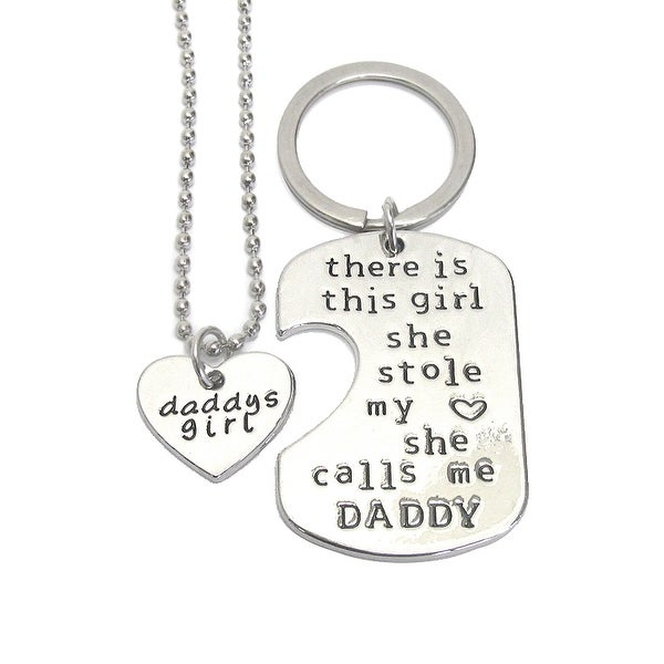 Daddy and Girl Necklace and Key Charm Set - She Calls Me Daddy - Silver