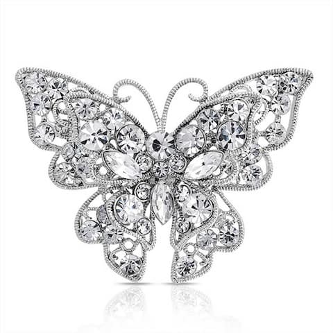 Large Colorless Crystal Butterfly Shape Filigree Brooch Pin Sliver Plated