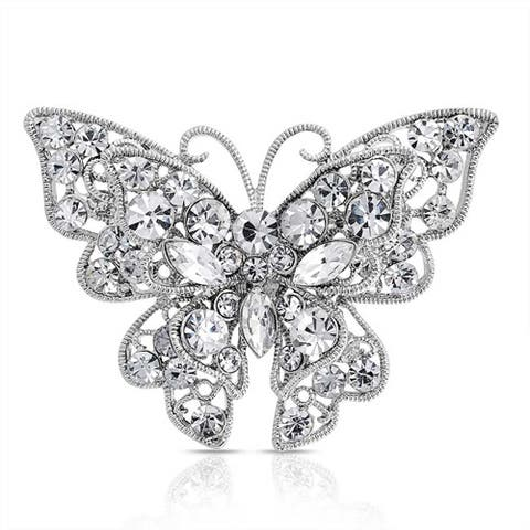 Large Crystal Filigree Fashion Statement Butterfly Brooch Pin Silver