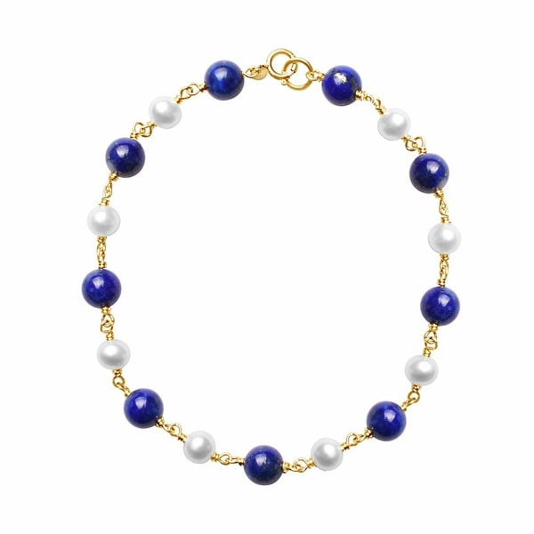 """14K White Pearl and Lapis Link Bracelet 7.5"""". Opens flyout."""
