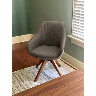 Modern Home Office Swivel Arm Accent Chair with Wood Legs