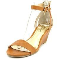 Thalia Sodi Lordes Women Open Toe Leather Tan Wedge Sandal - 10