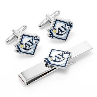 Tampa Bay Rays Cufflinks and Tie Bar Gift Set - Multicolored