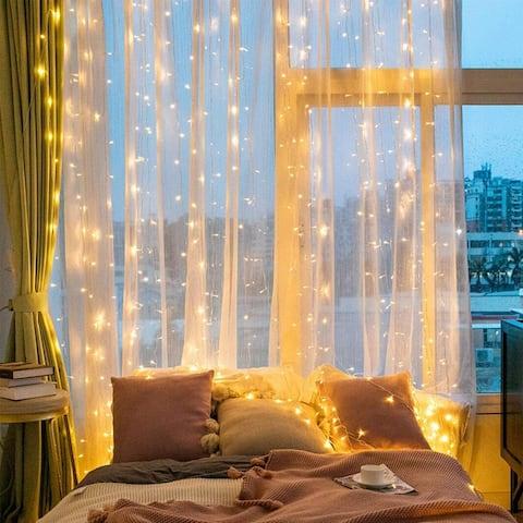 300 LED Window Curtain String Lights, IP65 Waterproof Decorative Fairy Twinkle Lights, USB Powered, 9.8 x 9.8FT