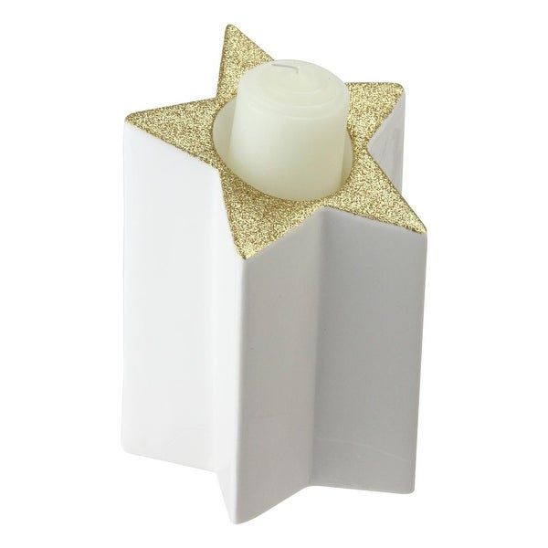 "6.25"" White and Gold Colored Star Shaped Glittered Tea Light Candle Holder"