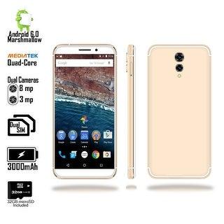 "Indigi 2018 GSM Unlocked 4G LTE Android 6.0 Marshmallow 5.6"" SmartPhone [Quad-CORE @ 1.2GHz + 2SIM] Gold + 32gb microSD"