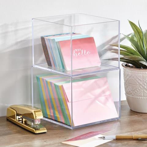 mDesign Plastic Storage Desk Organizer Bin for Home, Office - 3 Pack, Clear - 7.5 X 7.5