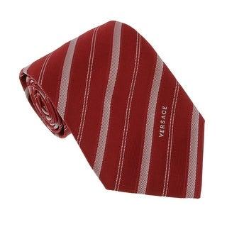 Versace Red Woven Multi Stripe Tie