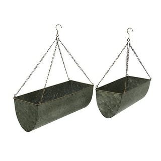 Galvanized Metal Set of 2 Indoor/Outdoor Hanging Trough Planters - 7 X 20 X 8 inches