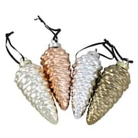 5 in. Ceramic Pine Cone Ornaments - Lustrous Metallic - Set of 4
