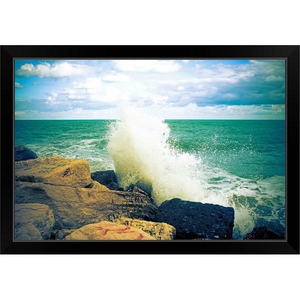 """""""Wave smashing on rock."""" Black Framed Print"""
