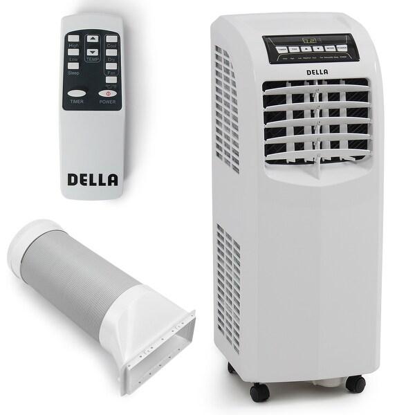 Della 8,000 BTU Portable Air Conditioner Cooling Fan Dehumidifier A/C Remote Control + Window Vent Kit, White