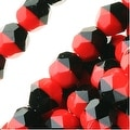 Czech Fire Polished Glass Beads 6mm Round - Black/Red (25) - Thumbnail 0