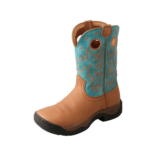 "Twisted X Work Boots Womens 9"" All Around Camel Turquoise. Opens flyout."
