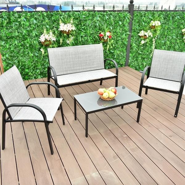 Costway 4 Pcs Patio Furniture Set Sofa Coffee Table Steel Frame Garden Deck Gray