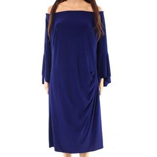 Lauren By Ralph Lauren Blue Women Size 16W Plus Ruched Sheath Dress