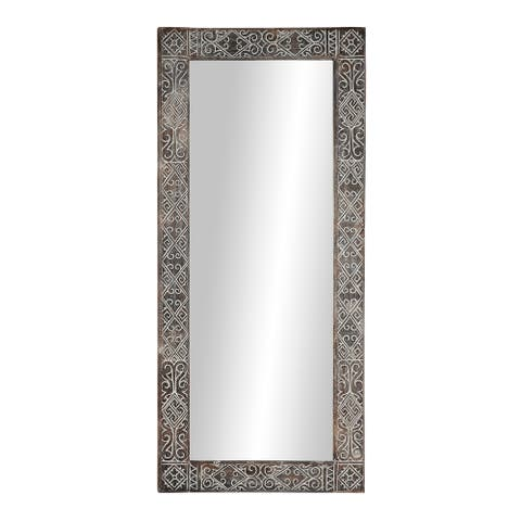 Large Wooden Wall Mirror w Hand-Carved Design and Whitewash Finish - 32 x 2 x 71