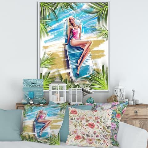 Designart 'Beautiful Blond Model At The Beach Sunbathing' Nautical & Coastal Framed Canvas Wall Art Print