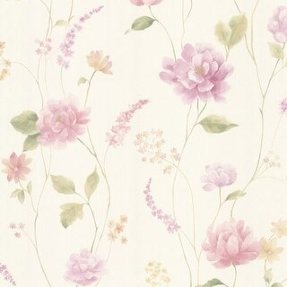 Brewster 347-20106 Hanne Purple Floral Pattern Wallpaper - N/A