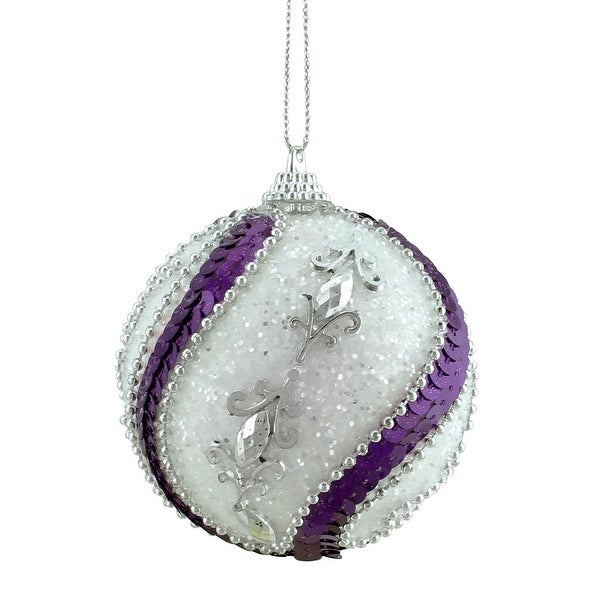 """3ct White, Purple Sequined and Silver Beaded Shatterproof Christmas Ball Ornaments 3"""" (75mm)"""