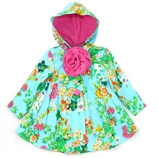 Maria Elena Little Girls Aqua Pink Floral Print Rosette Hooded Coat