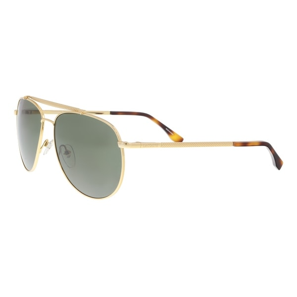 82138427b8a Shop Lacoste L177S 714 Gold Aviator Sunglasses - 57-15-140 - Free ...