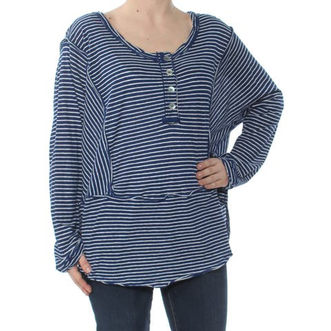 b44c898b2b8 FREE PEOPLE Womens Blue Striped Henley Long Sleeve Scoop Neck Tunic Top Size   L