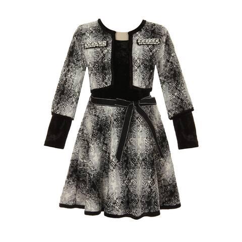 Just Kids Girls Black Gray Plaid 2pc Christmas Dress Jacket Set