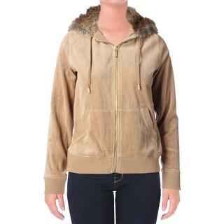MICHAEL Michael Kors Womens Velour Faux Fur Zip-Front Hoodie