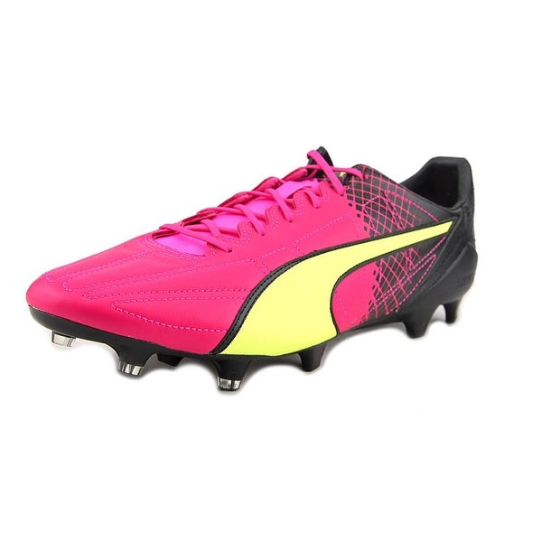 Puma evoSpeed SL II Lth Tricks FG Soccer Cleats Men Pink Glo-Safety Yellow-Black Cleats