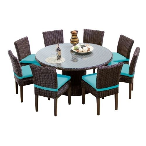 Miseno MPF VNCE60KIT8C Mediterranean 9 Piece Aluminum Framed Outdoor Dining  Set With Round Glass Tabletop And Side Chairs   N/A   Free Shipping Today  ...
