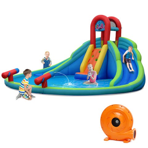 Costway Inflatable Bounce House Water Splash Pool Dual Slide Climbing