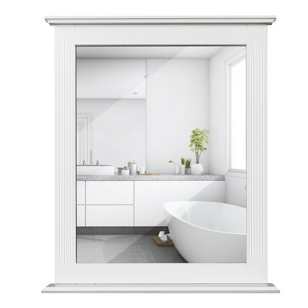 Gymax Bathroom Wall Mirror W/Shelf Square Vanity Makeup Mirror Multipurpose Usage
