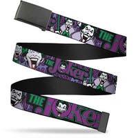 Blank Black Bo Buckle Joker Face Logo Spades Black Green Purple Web Belt - L
