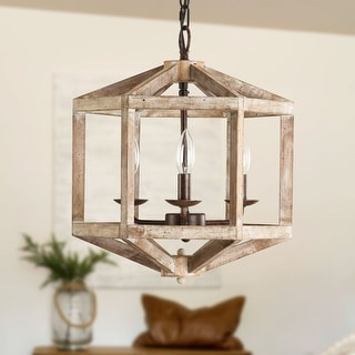 Link to 3-Light Antique Modern Farmhouse Off-White / Wood Chandelier Similar Items in Chandeliers