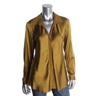Eileen Fisher Womens Silk Long Sleeves Button-Down Top - XS