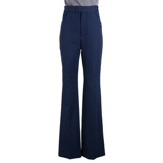 Maison Margiela Womens Navy High Waist Wide Leg Trousers