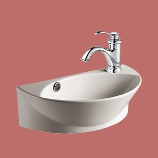 Bathroom Small White Wall Mount Vessel Sink with Single Faucet Hole, Overflow