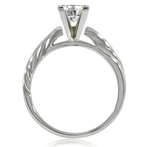 1.00 cttw. 14K White Gold Cathedral Princess Solitaire Diamond Engagement Ring