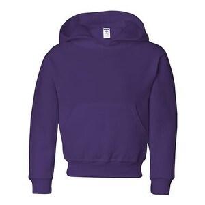 Jerzees NuBlend Youth Hooded Sweatshirt - Deep Purple - M