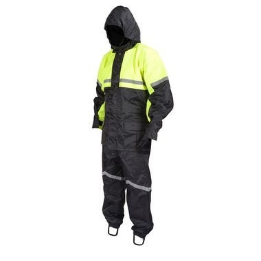 Motorcycle Biker Two Piece Rain Suit Yellow Black High Visibility RN2