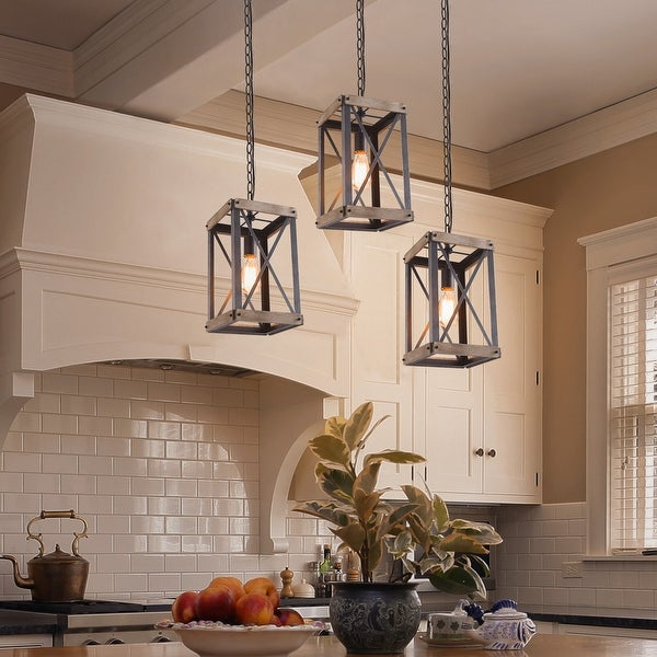 "The Gray Barn Greene Country Cage Pendant Lights Wood Bond Chandelier Island Lighting - W 9""*W 9"" * H 16"". Opens flyout."