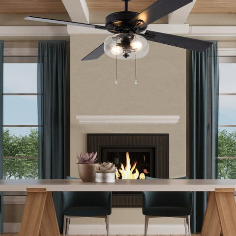"""Aya River of Goods Black Metal and Glass 52-Inch Ceiling Fan with Light - 52"""" x 52"""" x 13.5""""/18.5"""""""